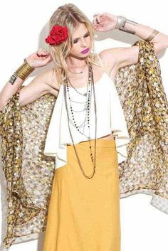 For Love & Lemons Baja Cape In Mustard Print With Lurex - Summer Collection