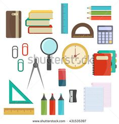 Vector illustration of Back to School supplies. School supplies learning equipment and different school supplies colorful office accessories. …
