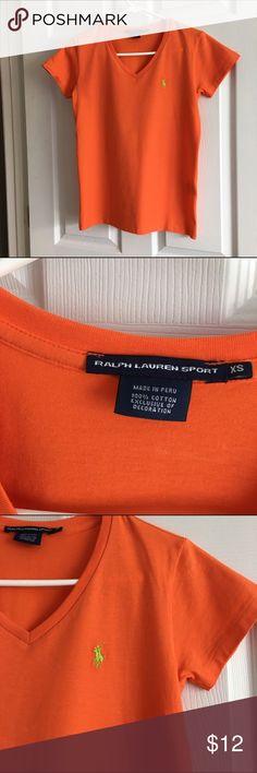 Polo Orange V-Neck Shirt XS Orange Polo v-neck shirt. Like new condition. Polo by Ralph Lauren Tops Tees - Short Sleeve