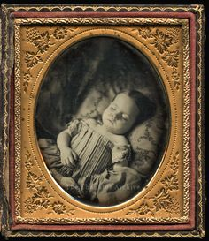 I'm only sleeping... Sixth-plate daguerreotype, c.1855. Precious child with Jesus in Heaven!
