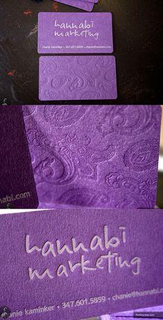 Purple Letterpress business card for Hannabi Marketing using purple cover stock.