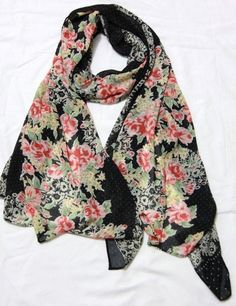 Black Rose  Lace Print Scarf,Fashion Light Weight Spring Summer 1520 Scarf by 1520 on Etsy https://www.etsy.com/listing/154420334/black-rose-lace-print-scarffashion-light