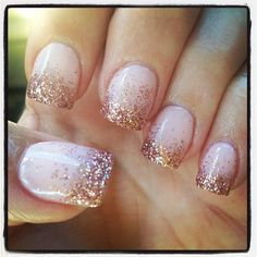 """159 Likes, 14 Comments -  Melissa Parada  (@honeybeephilosophy) on Instagram: """"New gel manicure! Soft pink with rose gold glitter tips  #rosegold #gelmani #manicure…"""""""