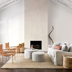 Large Cotton Ottomans & Poufs | Upholstered Ottomans at The Citizenry Small Furniture, Leather Furniture, Furniture Making, Modern Ottoman, Modern Rugs, Midcentury Modern, Interior Minimalista, Decoration Inspiration, Decor Ideas