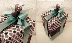 Verpakking en linten, creatie door Ingrid De Meester, groen met bruin