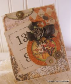 vintage style little witch clock pocket watch unlucky number 13 stitched handmade halloween card. $8.50, via Etsy.