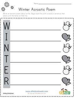 Winter Acrostic Poem Worksheet