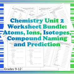 Chemistry Worksheet Bundle! The second unit of the year is covered in this bundle that has 17 half-page worksheets for many skills and topics. Half worksheets work really well for my students. They are able to focus on one type of question at a time. Each has an average of 4-15 questions. For Grades 9-12.