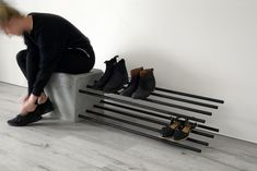 Cantilever Shoe Rack by Stance Studio. A robust and functional piece, the Bars shoe rack creates a contrast between light + heavy as slender steel bars. Concrete Furniture, Concrete Table, Concrete Wood, Steel Furniture, Unique Furniture, Home Furniture, Furniture Design, Polished Concrete, Concrete Crafts