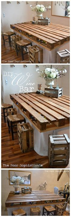 DIY Pallet Projects - Do it Yourself Completely FREE Pallet Wine Bar Table Top Woodworking Upcycle Tutorial via The Poor Sophisticate