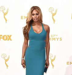 Actress  activist @lavernecox stuns on the #Emmys red carpet in a custom Calvin Klein Collection teal silk crepe dress designed by womens Creative Director @costafrancisco. - Shop now for calvinklein > http://ift.tt/1Ja6lvu