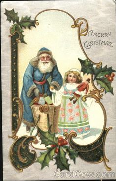 Santa in blue robe giving little girl gifts Series 1364 Merry Christmas