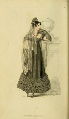 Hand-coloured engraved plate from 'Ackermann's Repository of Arts and Science' Mourning Evening Dress from December The mourning was for Princess Charlotte, daughter of The Prince Regent, who had died in childbirth. Regency Dress, Regency Era, Jane Austen, Mourning Dress, Long Gloves, Black Gloves, Mourning Jewelry, Empire Style, Victorian Gothic