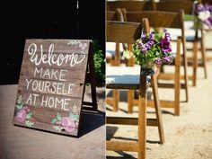 Purple Handmade California Wedding // Love the hand-painted sign