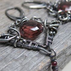 Erato, Muse of Desire Earrings ... Artisan Wire Wrapped Fine Silver Chandeliers with Plum Quartz