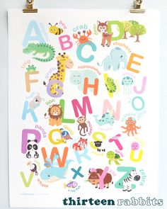 Alphabet Wall Art, Alphabet Print, Animal Alphabet, Giraffe, Elephant, Childrens Wall Art, Nursery Wall Art, Illustrators, Rabbits