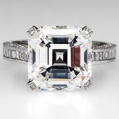 GIA Certified 7 Carat G/SI1 Square Emerald Asscher Cut Diamond Engagement Ring #SolitairewithAccents