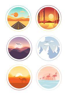 Landscape Illustration, Graphic Illustration, Doodle Drawing, Digital Art Beginner, Small Canvas Art, Circle Art, Ipad Art, Digital Art Tutorial, Aesthetic Stickers