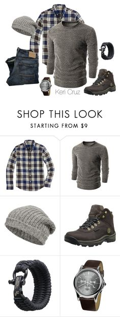 """""""The Rugged Man- Winter Edition"""" by keri-cruz ❤ liked on Polyvore featuring J.Crew, Closed, Timberland and Emporio Armani"""