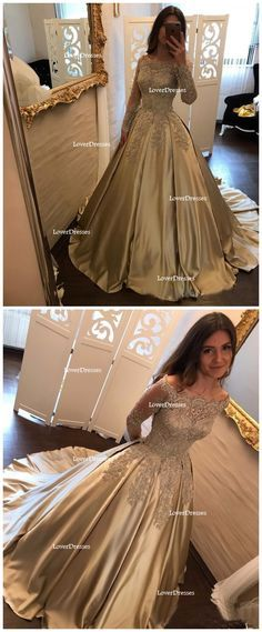 Long Sleeve Gold Lace A line Long Evening Prom Dresses 06436e0f3e2d