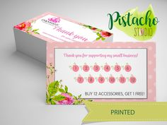 Paparazzi Loyalty card- Jewelry Consultant – Accessories- Floral vintage business card- Custom printed loyalty card. de PistachoStudio en Etsy