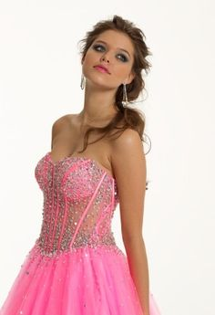 Prom Dresses 2013 - Strapless Illusion Beaded Long Corset Dress from Camille La Vie and Group USA