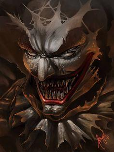 clown (speed paint) by wizyakuza Le Joker Batman, Joker Art, Joker Clown, Clown Mask, Scary Mask, Creepy Clown, Creepy Art, Insane Clown, Dragon Tattoo With Skull