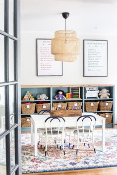 playroom decor with kid table and toy storage.I love so much about this playroom! The table and chairs, built in and baskets, rug and light, and the sweet diy narnia reading nook! She has all the links for everything and colors listed