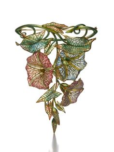 Gold and Plique-à-Jour Enamel Morning Glory Pendant Brooch by Marcus  Co., New York, circa 1900