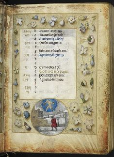 Calendar page for January, with a roundel miniature of Aquarius and a man in a wintry landscape, from the Huth Hours, Netherlands (Bruges or...