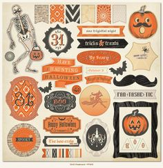 My Mind's Eye - Frightful Collection - Halloween - 12 x 12 Chipboard Stickers - Elements at Scrapbook.com- Playful, vintage designs from MME! Perfect stickers for a Halloween card or banner.