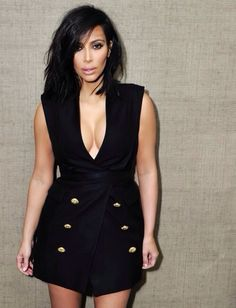Kim K in a vest-dress