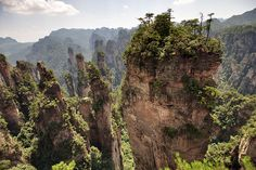 Zhangjiajie National Forest Park, China It is famous for its majestic pillar-like geographic formations which dot the entire park. The pillars are said to be an inspiration for the floating Hallelujah Mountains seen in the movie 'Avatar'. Zhangjiajie, Tianzi Mountains, Forest Park, Beautiful Places In The World, Nature Reserve, National Forest, Landscape Photos, Expo 2015, National Parks