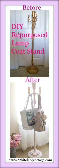DIY Repurposed Lamp Coat Stand - White Lace Cottage