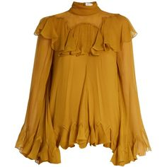 Chloé High-neck silk-crepon ruffled blouse found on Polyvore featuring tops, blouses, shirts, yellow, long blouse, high neck shirts, silk ruffle blouse, yellow shirt and silk shirt