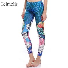 0562a279b1 Leimolis 3D print butterfly parrot dragonfly bird Harajuku High Waist  workout push up plus size fitness
