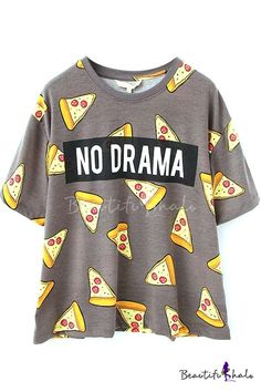 Shop Pizza Print Loose T-shirt at ROMWE, discover more fashion styles online. Cute Teen Outfits, Teenager Outfits, Outfits For Teens, New Outfits, Cool Outfits, Girls Fashion Clothes, Teen Fashion Outfits, Crop Top Outfits, Mode Streetwear