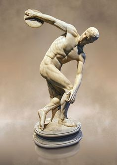 Roman sculpture of a Discus Thrower, Paros marble made in the mid 2nd cent AD excavated from the Villa Palombara, Esquilino, Rome. The Discus Thrower statue is almost the only fully preserved example of its type, the statue is a faithful copy of one of the most admired works of antiquity; the bronze discobolus by Greek sculptor Myron circa 450 BC.