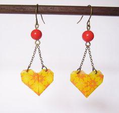 Boucles d'oreilles coeur en origami par ichimo sur Etsy, €8.00