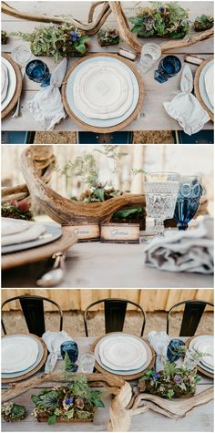 Natural weddings, organic table setting, natural rustic table decor, outdoor wedding decorations, neutral and navy color palette, wedding farm tables, get more natural wedding decor ideas on borrowedandblue.com // @rosetrailimages