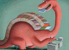 Booksaur / Librosaurio (ilustración de Klaas Verplancke)