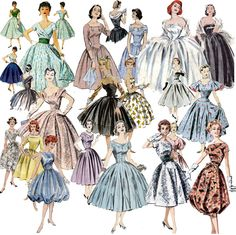 It's ALL About the Skirt 1950s Fashion Collage Sheet 9 images 3 X 3 inches D126