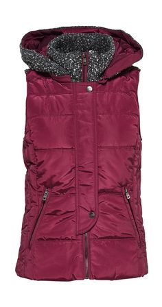 "We love love love this cozy vest! The perfect solution for that in-between weather, just the right amount of warmth without too much bulk. The contrasting fabric adds visual interest, and the tailored cut lets you stay warm without sacrificing style!  Padded Vest Zipper front closure with snaps Front Zip Pockets Knitted Collar Size Medium is 24.5"" long 100% Polyester Brand Only"