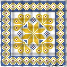 Lovely X-stitch square - reminds me a bit of peacock feathers. Cross Stitch Pillow, Mini Cross Stitch, Cross Stitch Borders, Cross Stitch Flowers, Cross Stitch Charts, Cross Stitch Designs, Cross Stitching, Cross Stitch Embroidery, Square Patterns