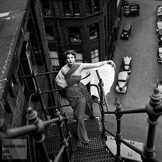Model Barbara Goalen 'Milling Around Lancashire', 1952. Photo by Elsbeth Juda.