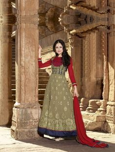 Green and Red Georgette Anarkali Suit with Embroidery Work