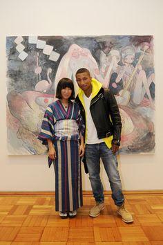 Aya Takano and Pharrell Williams xo Aya Takano, Pharrell Williams, Famous Artists, Style Icons, Kimono, Jumpsuit, Glamour, Google, Dresses