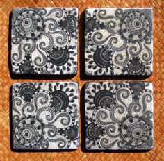 BLACK and WHITE COASTERS ethnic design handmade with by devikasart, $28.00