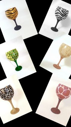 Handmade Decorations, Handmade Crafts, Handmade Items, Giraffe Print, Zebra Print, Gin Glasses, Glitter Glasses, Snake Patterns, Unusual Gifts