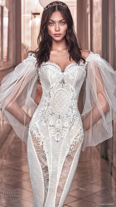 galia lahav spring 2018 bridal long bishop sleeves off the shoulder sweetheart neckline heavily embellished bodice vintage fit and flare wedding dress sweep train (thelma) zv -- Galia Lahav Spring 2018 Wedding Dresses